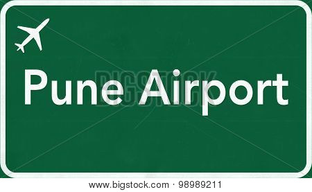 Pune India Airport Highway Sign