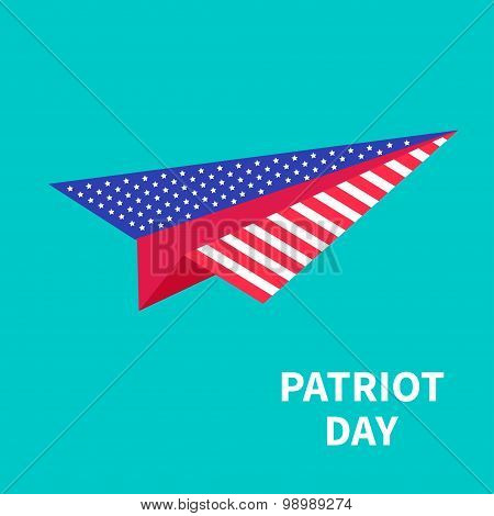 Big Paper Plane Patriot Day Background Flat Design
