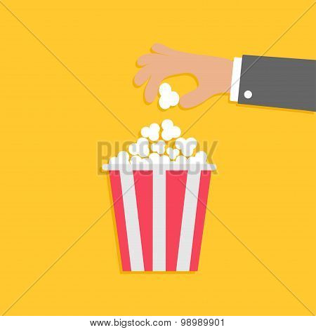Hand And Popcorn. Flat Dsign Style Icon.