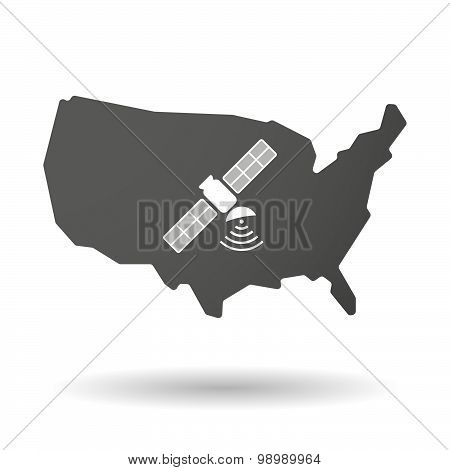 Usa Map Icon With A Satellite