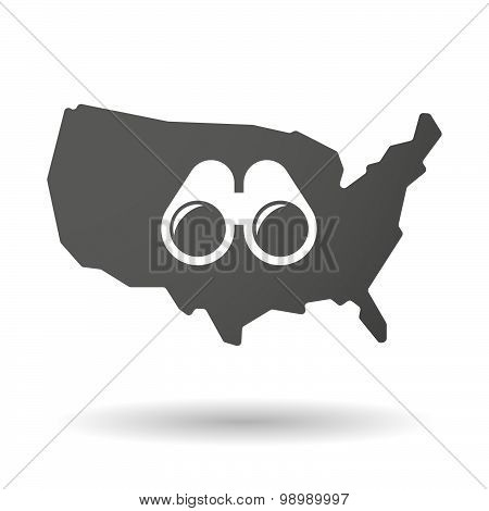 Usa Map Icon With A Binoculars