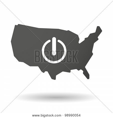 Usa Map Icon With An Off Button