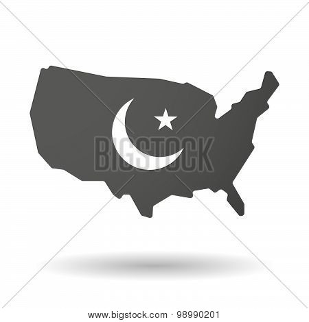 Usa Map Icon With An Islam Sign