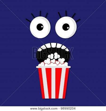 Scary Face Emotions In The Dark Popcorn. Cinema Icon Flat Design Style. Movie Background