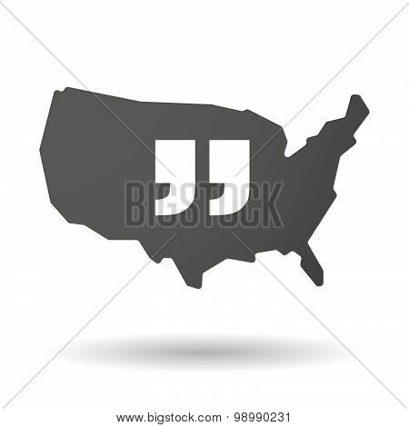 Usa Map Icon With  Quotes