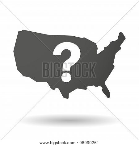 Usa Map Icon With A Question Sign
