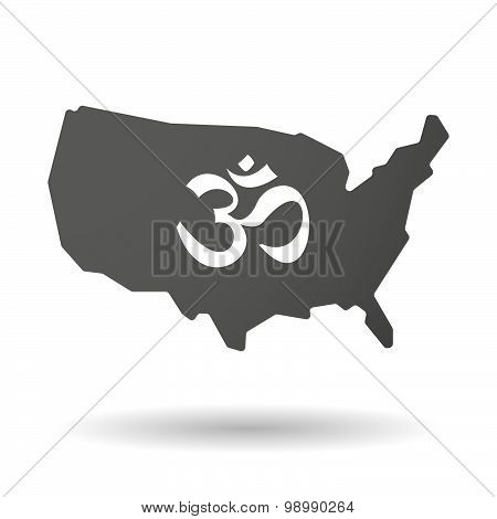 Usa Map Icon With An Om Sign