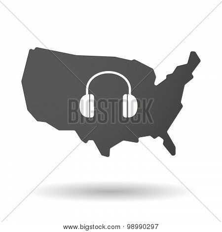 Usa Map Icon With A Earphones
