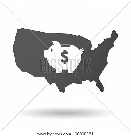 Usa Map Icon With A Piggy Bank