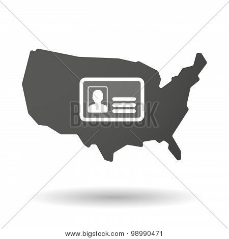 Usa Map Icon With An Id Card