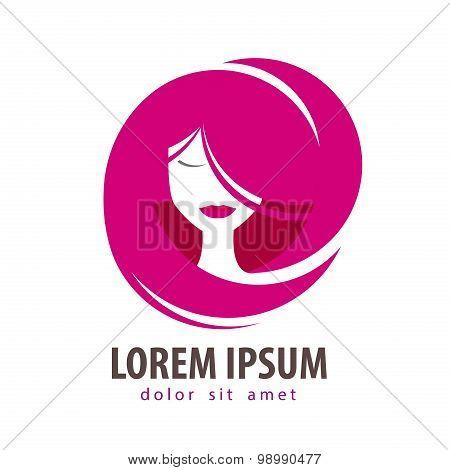 young woman vector logo design template. cosmetic, makeup or beauty salon, spa icon