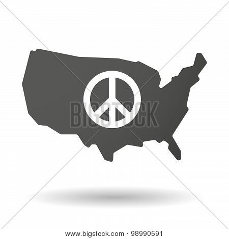 Usa Map Icon With A Peace Sign
