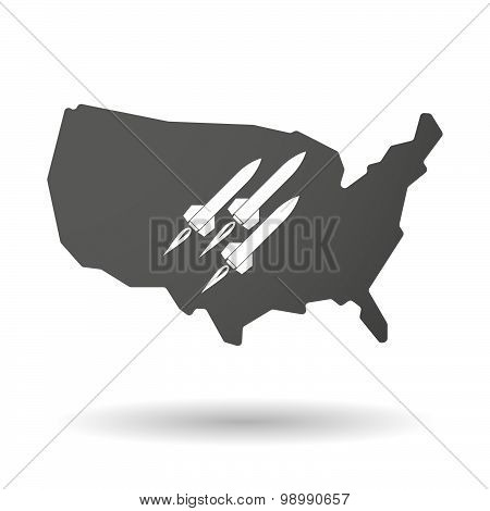 Usa Map Icon With Missiles