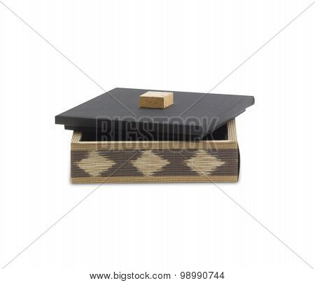 A Small Wooden Box For Storage.