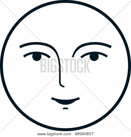 Vector Moon Face Isolated On White Background