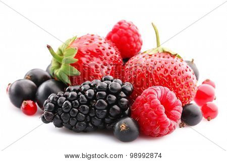 Mix of fresh berries isolated on white isolated on white