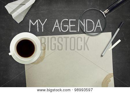 My agenda concept on black blackboard