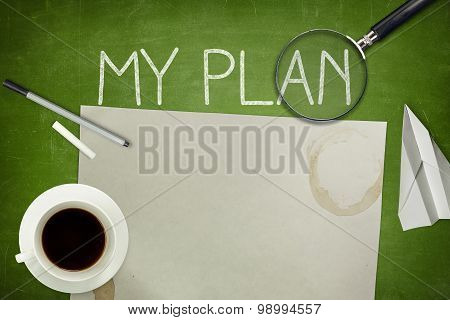 My plan concept on green blackboard with empty paper sheet