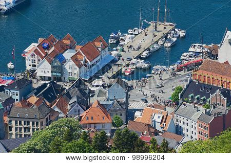 View to the buildings and old sea port from Floyen hill in Bergen, Norway.