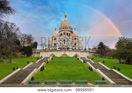 Sacre Coeur Basilica Of Montmartre In Paris, France