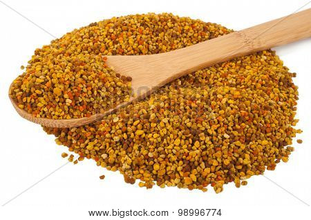 Bee pollen with wooden spoon