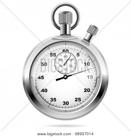 Retro mechanic chromed stopwatch illustration. Front view.