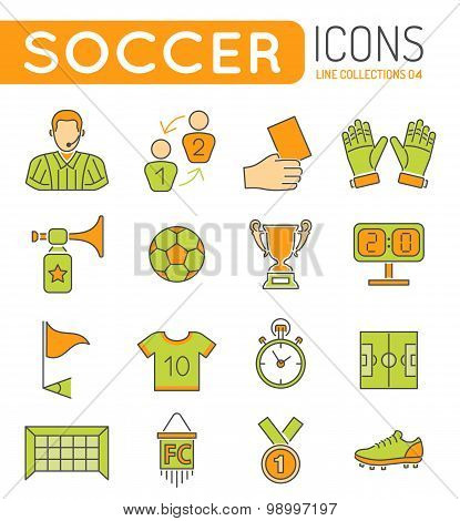 Soccer Thin Lines Icons