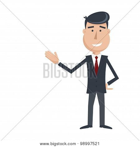 Funny Male  In Suit And Tie Gesturing Hand.