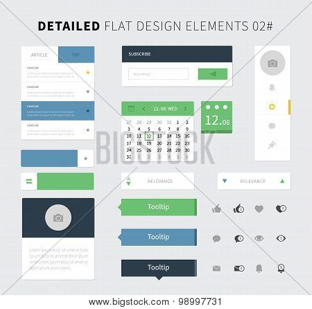 Set Of Flat Design Ui Kit For Webdesign