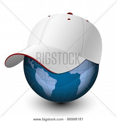 Globe In The Baseball Cap. Vector Illustration