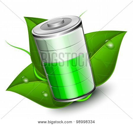 Battery With Green Leaf - Eco Energy Concept, Vector Illustration