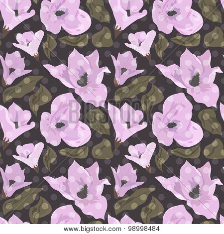 Floral Seamless Pattern With Magnolia Background