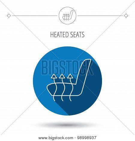 Heated seat icon. Warm autoarmchair sign.