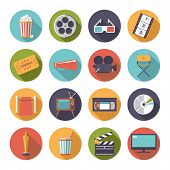 Circular movie and cinema icons vector set.. Collection of 16 flat design cinema and movie themed ve poster