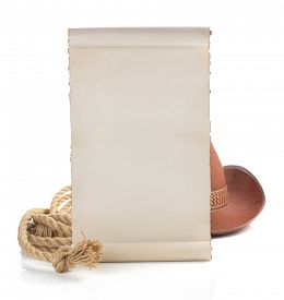 foto of wrangler  - aged paper and cowboy hat isolated on white background - JPG