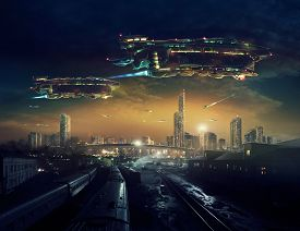 picture of spaceships  - Urban landscape of post apocalyptic future with flying spaceships.   Life after a global war. Digital art. - JPG