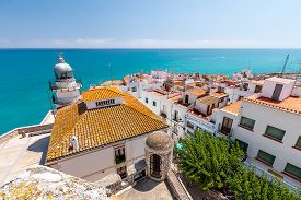 picture of valencia-orange  - Panorama Peniscola and the sea from a high point - JPG