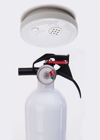 foto of smoke detector  - Smoke detector with alarm for fire safety - JPG