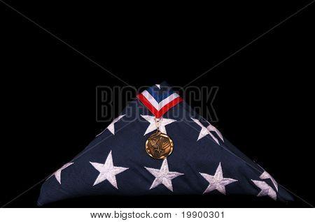 Veteran's Casket Flag And Medal
