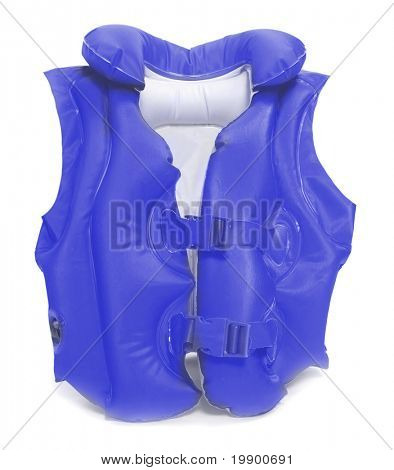 Blue life-jacket. Necessary object for safe sailing.