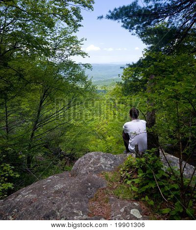 Hiker Overlooks Shenandoah Valley