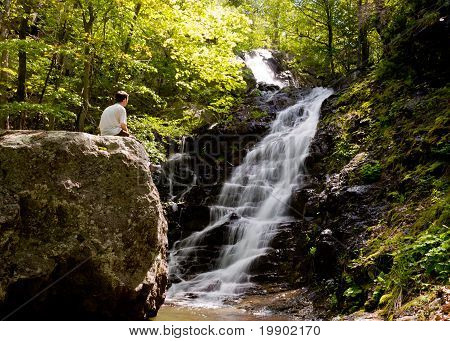 Man Overlooks Overall Run Waterfall