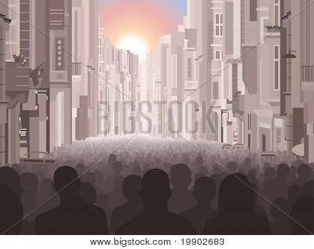 People in a city
