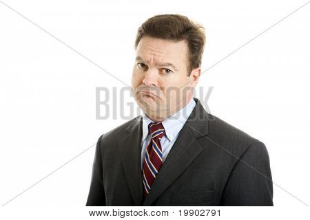 Businessman with a very sad, sarcastic expression of mock sympathy. Isolated on white.