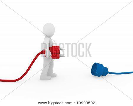 3D Human Man Plug Red Blue
