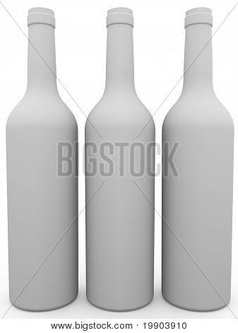 Three White Wine Bottles