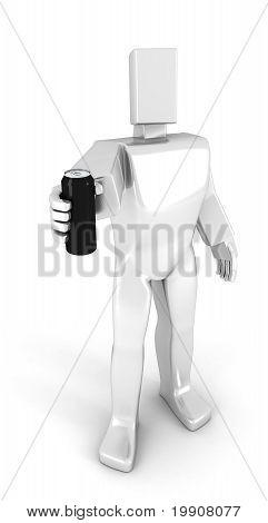 3D Man Holding A Soda