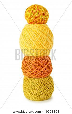 Yellow Gamma Clews In A Vertical Row, Isolated