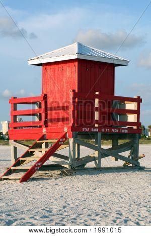 Red Lifeguard Shack
