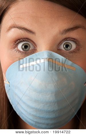 Frightened Woman With Surgical Mask